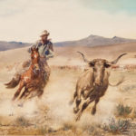"""My great interest in the work of Edward Borein stems from childhood visits to his studio. It was a wonderful experience to listen to his stories about bygone days while watching him sketch a cowboy roping a steer.  This is probably one of the finest watercolors ever painted by Borein because of the quality of the draftsmanship, plus the beautiful action of the principal figures. It is my favorite."" - Katherine Haley, 1988  ""Since my mother's death in December 1999, the California Vaquero has been hanging in the living room at the ranch. I believe it is time that the painting has the chance to be in the public again, to carry on the legacy that my mother started over a half century ago. I hope you will all love it as much as we have."" - Roger Haley, 2011  Once the centerpiece of Katherine Haley's magnificent Borein collection, this watercolor is the most recent addition to our museum, and is considered to be one of Edward Borein's finest works.  California Vaquero John Edward Borein (American, 1872-1945) Watercolor on paper Museum Acquisition Fund Through the generosity of the Friends of Edward Borein"