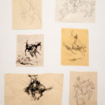 Six Sketches of Bucking Horses John Edward Borein (American, 1872-1945) Pen, ink, and graphite on paper Gift of Carolyn and Leo Acquistapace