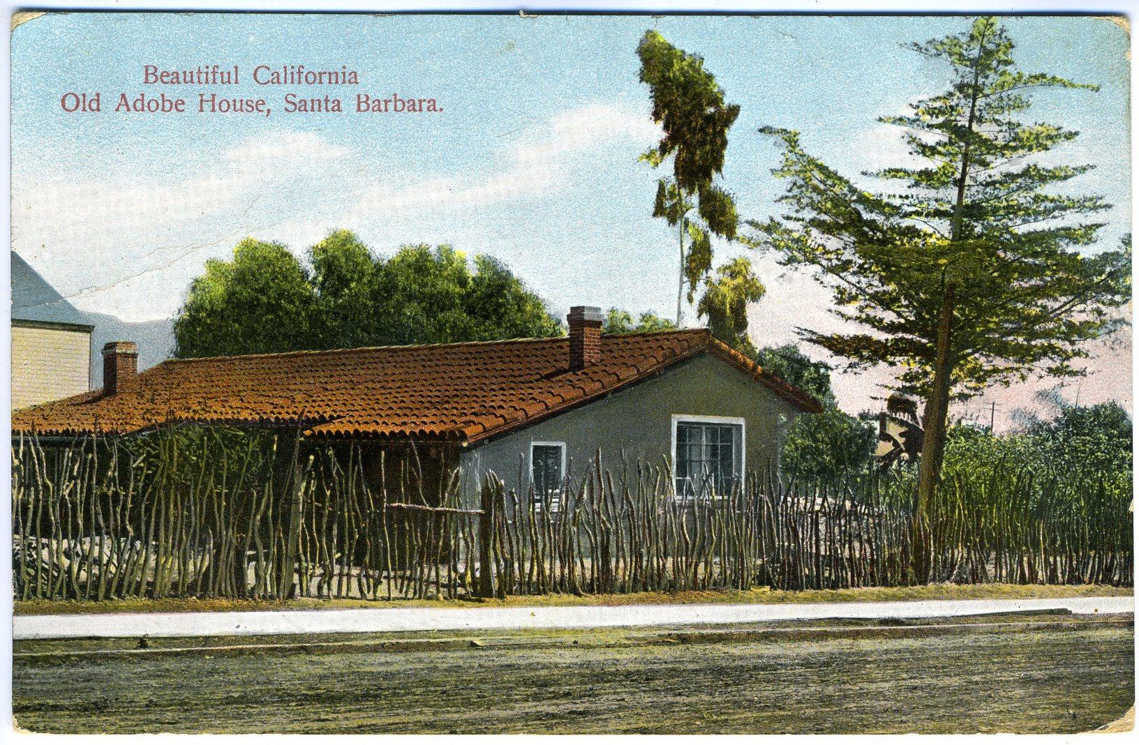 Historic Adobe, Anacapa Street postcard, SBHM 60.2